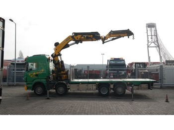 Lastbil Scania R 500 8X2 BOAT TRANSPORT WITH PALFINGER PK 85002 CRANE WITH JIB PJ 170